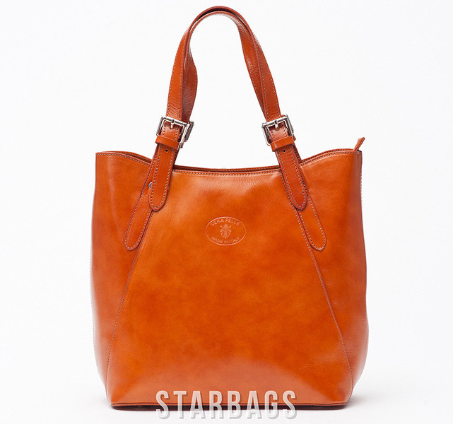 Ceremonia Shopper Bag Torebka 100% Skóra Camel T4