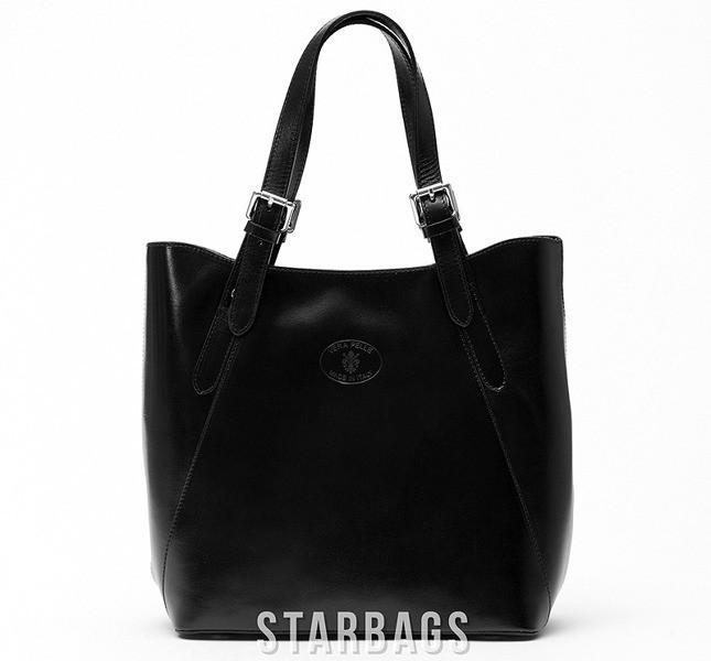 Ceremonia Shopper Bag Torebka 100% Skóra Czarna T4
